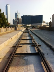 First rails on Houston Street bridge