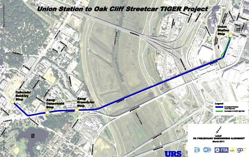 Map of streetcar line to Oak Cliff