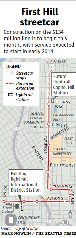 First Hill Streetcar route map