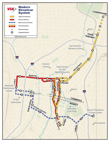 A map of the proposed route for the San Antonio's 'Modern Streetcar' project.